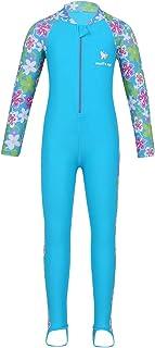 LiiYii Kids Girls One Piece Wetsuit Sun Protection Diving Suit UPF 50+ Rash Guard Sunsuit Flower Printed Swimwear