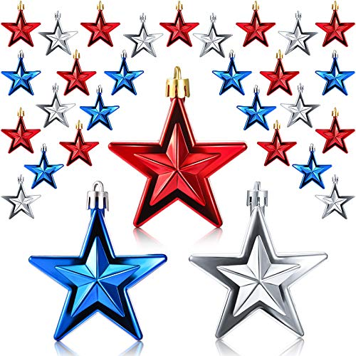 36 Pieces Patriotic Ornaments 4th of July Star Ornaments Hanging Star Flag Day Ornament Independence Day Decorations for Home Party Indoor Outdoor Decor (Red, Silver, Blue)