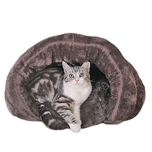 Sxmy lettiera invernale per gatti in quattro stagioni, cuccia invernale chiusa per gatti a sonno profondo, colore marrone - M