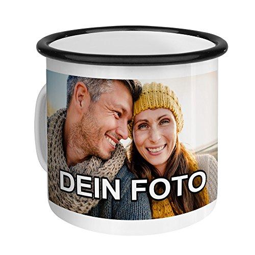 PhotoFancy – Emaille-Tasse mit Foto Bedrucken Lassen – Blechtasse Personalisieren – Nostalgie-Becher selbst gestalten (Medium [300 ml], weiß mit schwarzem Mundrand)