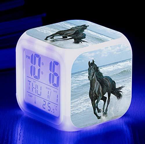 shiyueNB Reloj Despertador con Cambio de Color LED de Caballo 3D para Regalo de cumpleaños de niños Alarma Digital Oficina de Oficina Reloj electrónico Reloj de Mesa de Escritorio Chocolate