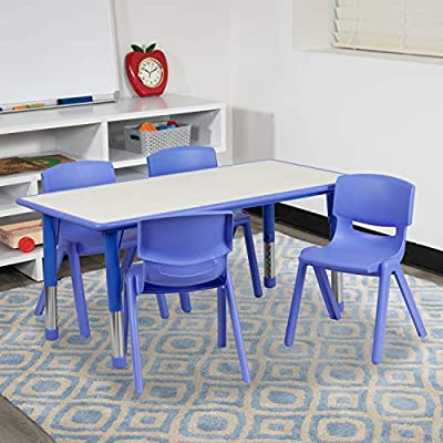 Flash Furniture Rectangular Adjustable Plastic Activity Table Set with 4 School Stack Chairs