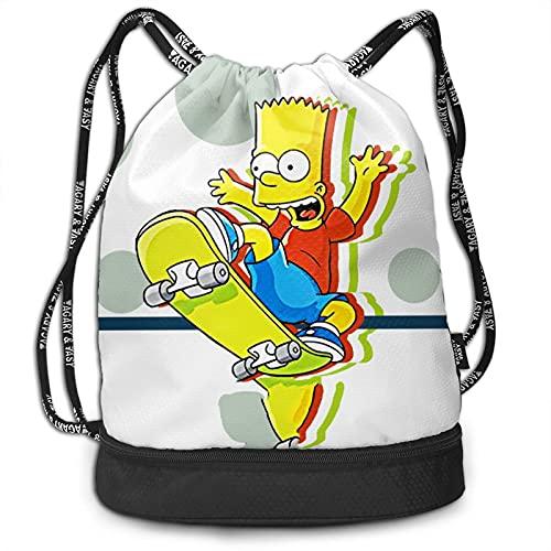 Bart Simpson - Mochila con cordón, portátil, para ocio, deporte, gimnasio, viajes, bolsa de hombro, 35 x 40 cm