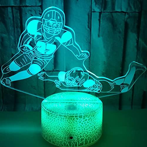 3D LED lámparas Jugador de hockey sobre hielo ilusion optica luz de noche 7 colores Contacto Arte Escultura luces con cables USB Lampara Decoracion Dormitorio escritorio mesa para niños adultos