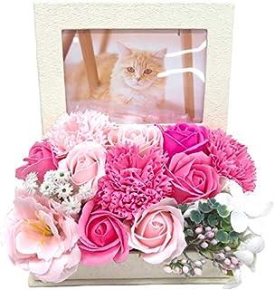 母の日 ソープフラワー 薔薇 フォトフレーム 写真立て 大切な人 贈り物 誕生日 家族写真 枯れない花 (フォトピンク)