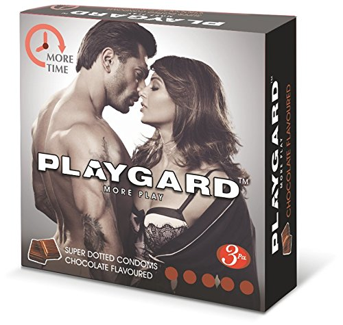 Playgard More Time Superdotted Condoms - 3 Count (Pack of 10, Chocolate)
