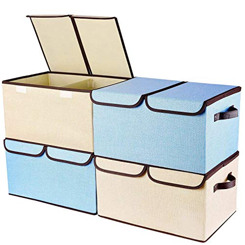 """Larger Storage Cubes 4-Pack Senbowe Linen Fabric Foldable Collapsible Storage Cube Bin Organizer Basket with Lid Handles Removable Divider For Home Nursery Closet - 165 x 118 x 98"""""""