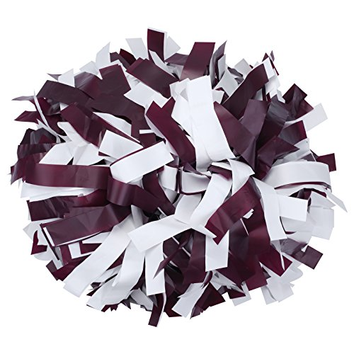 ICObuty Plastic Cheerleading Pom pom 6 inch 1 Pair(Maroon-White)
