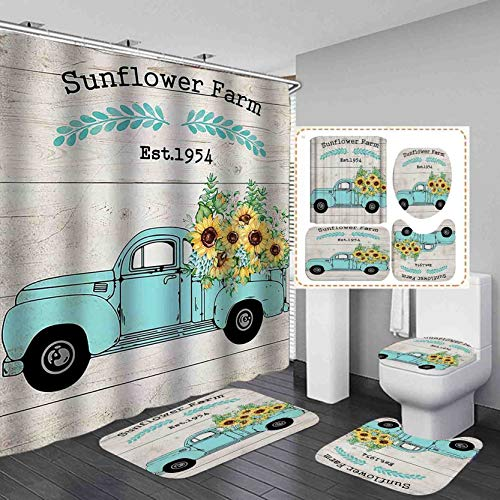 Jayden&Madge 4PCS/SET Farmhouse Truck Sunflower Shower Curtain, Olive Leaf Country Rustic Panel Wood Bathroom Decor, Waterproof Soft Fabric Bath Curtain Non-slip Bathroom Mat Toilet Rug Bath Mat, Teal