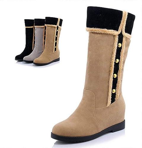 ZHRUI botas para mujer - botas Antideslizantes cálidas de otoño e Invierno botas Altas Planas zapatos de algodón 34-40 (Color   Albaricoque, tamaño   34)