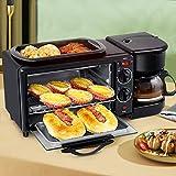 3 In1 Mini-Öfen Multifunktions Frühstücksmaschine mit Kaffeemaschine, Grillplatte Pizzaofen Toastofen Minibackofen