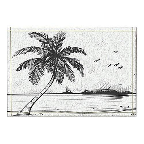 LRSJD handbeschilderde decoratie meubelen palmen kokos op het strand badmat antislip deurmat ingang deurmat vooraan binnen buiten mat 15,7 x 23,6in