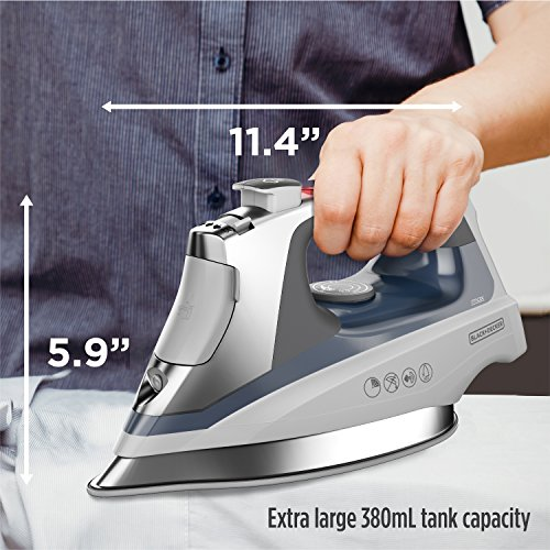 BLACK+DECKER Allure Professional Steam Iron, Auto Shut Off, Blue and Stainless Steel, D3030