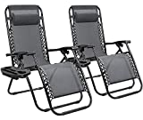 Homall Zero Gravity Chair Patio Folding Lawn Lounge Chairs Outdoor Lounge Gravity Chair Camp Reclining Lounge Chair with Pillows for Poolside Backyard and Beach Set of 2 (Gray)