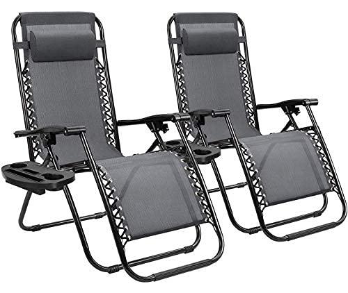 Homall Zero Gravity - Sillón reclinable Plegable Ajustable para césped, Tumbona al Aire Libre, Silla reclinable con Almohadas para Piscina, Patio y Playa, Juego de 2