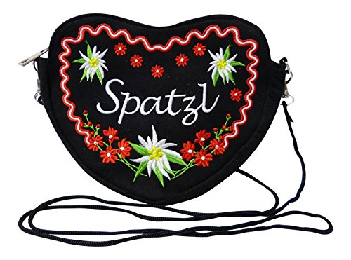 Schwarze Dirndltasche - Trachtentasche Herz Umhängetasche - Spatzl Herztasche zum Dirndl (Rot)
