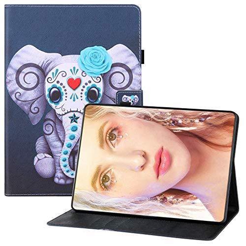YKTO Funda Tableta para Samsung Galaxy Tab A 10.1 (2019)/SM-T510/SM-T515 Soporte Plegable Cierre Magnetico Flip Billetera Carcasa Precioso Diseño de Patrón Pintado PU Cuero Tableta Cover,Elefante