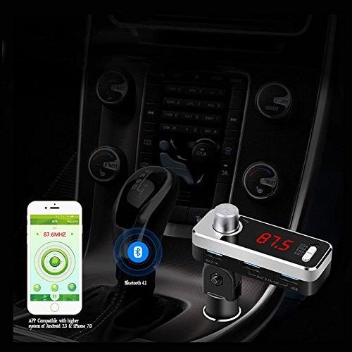 elegantstunning Unidad de Música de transmisor FM de Coche de Cargador, Jugador inalámbrico de Coche de Bluetooth con la Llamada Manos Libres