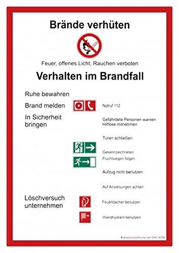 Schild Brände verhüten / Verhalten im Brandfall, Brandschutzordnung, Kunststoff, DIN 14096