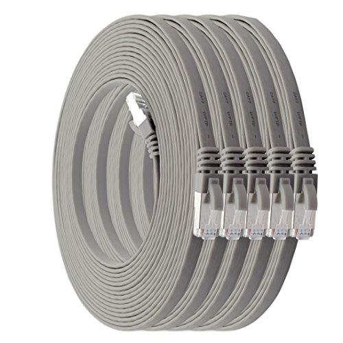 2m - CAT7 Cable de Red Plano Gris - 5 Piezas 10...
