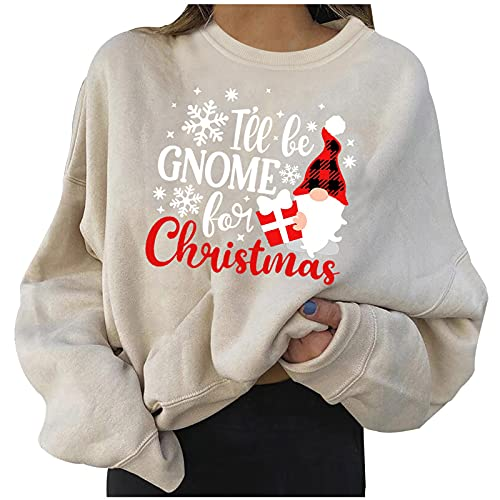 Honestyi Navidad Jersey Mujer Manga Larga Sweatshirt Casual Con Estampado Navideño Sudaderas Mujer Con Capucha Baratas Pullover Sueltos De Cuello Redondo Ropa Harajuku Mujer