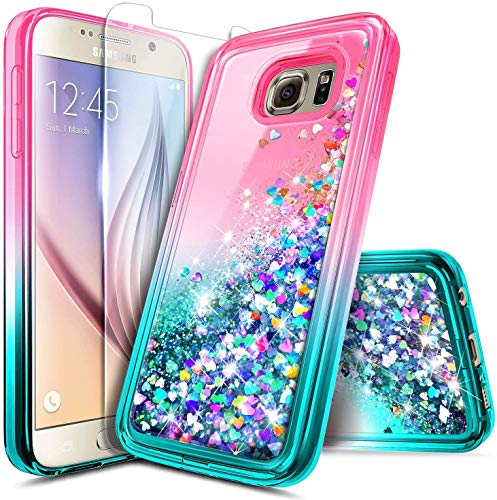 NZND Case for Samsung Galaxy S6 Edge Plus with Screen Protector, Glitter Liquid Floating Waterfall Durable Girls Cute Phone Case Cover -Pink/Aqua