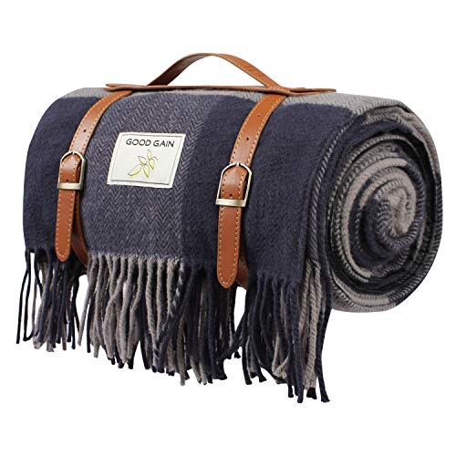 Good Gain Wool Picnic Blanket,Oversize Waterproof Backing with Handle Beach...