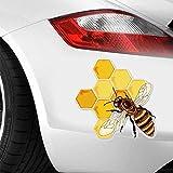 13Cmx12.7Cm Autoaufkleber Bienen, die Honig essen Interessante Vinyl Aufkleber Autoaufkleber