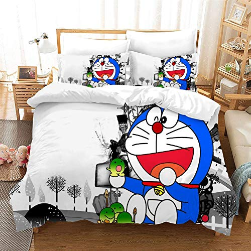 POPCC Doraemon: Doraemon White Background Bedding Sets, Duvet Cover Sets, for Otaku and Anime Fan's Room 3Pcs 1 Quilt Cover & 2 PillowcasesEU Twin Single(135x200cm)