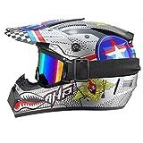 Casco de motocross con boca de tiburón, ECE 22.05, casco de moto Cross Set BMX Quad Enduro ATV Scooter con Goggle/Guantes (M, M, talla M)