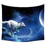 #Wandteppich #Wolf #Felsen #Mond #blau-weiss 130x150 oder 150x200cm