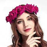 Ubright Boho Diadema de flores para boda, guirnalda floral, corona de flores, corona de flores, accesorios para el pelo para mujeres y niñas. (Rosa)