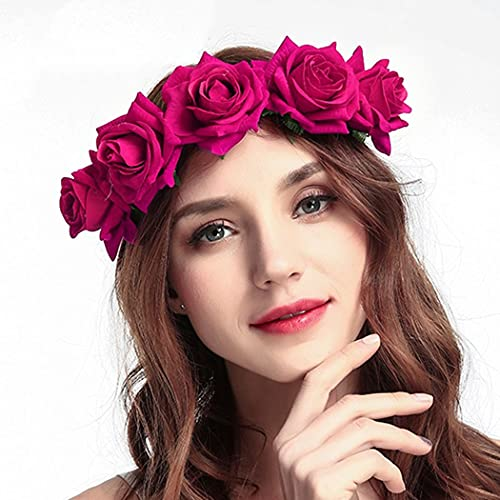 Ubright Boho Diadema de flores para boda, guirnalda floral, corona de flores,...
