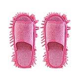 Oulii - Pantuflas mopa para la limpieza de suelos, para mujeres (color rosa)