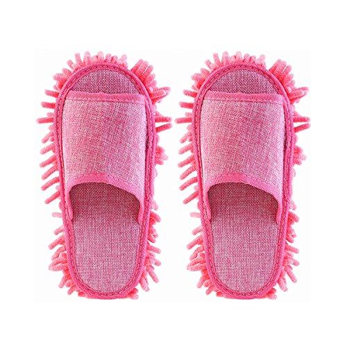 Tinksky Frauen Pantoffel Mikrofaser Bodenreinigung Mop Damen Hausschuhe (rosa)