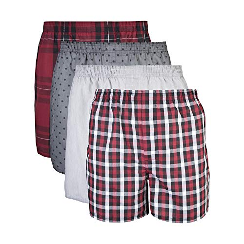 Gildan Men's Woven Boxer Underwear 5-Pack, mixed red/grey Large (Multi-Color)