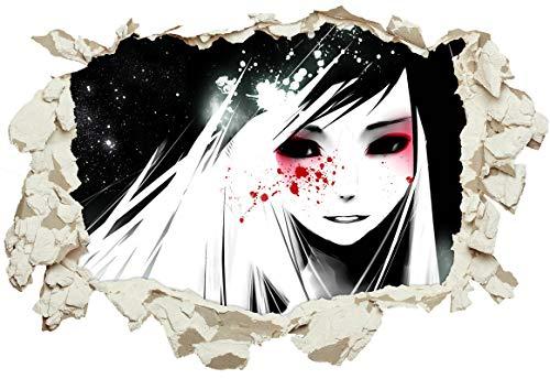 Unified Distribution Anime & Manga - Gothic Girl Blut - Wandtattoo mit 3D Effekt, Aufkleber für Wände und Türen Größe: 92x61 cm, Stil: Durchbruch