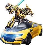 RC Bumblebee Drifting Robot con One Touch Transformando Modelos de Coches Control Remoto Coches Deformación Juguete 1:12 Radio Eléctrico Recargable Los Mejores Regalos para niños Fun Time Amarillo i