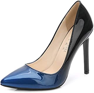 GLJJQMY High Heel Court Shoes Wedding Shoes Women's Pointed High Heels Fine High Heel Gradient Printing Patent Leather 11cm Women's Sandals (Color : Blue, Size : 45)