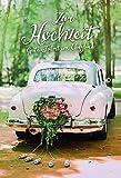 Hochzeitskarte | Hochzeit Karte | Karte Hochzeit im Set | Karte in Folie | Karte ohne Innentext | DIN A 6 | Klappkarten inkl. Umschlag | Motiv: Just married