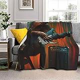 DPQZ Couverture polaire Sherpa 203 x 152,4 cm, motif singe amusant qui joue de la guitare, réversible, douce et confortable, en microfibre pour le salon/chambre à coucher