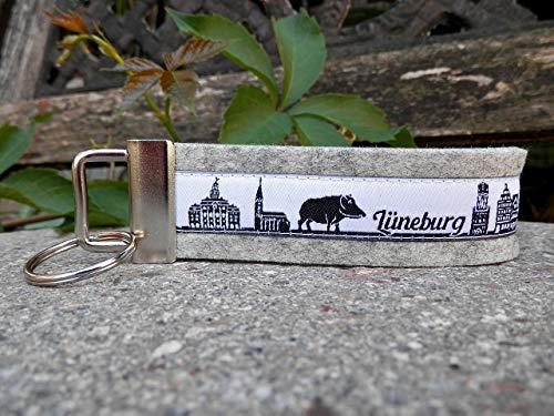 Schlüsselanhänger Schlüsselband Wollfilz hellgrau Webband Skyline Lüneburg weiß schwarz Geschenk!