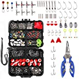 LiteBee 263PCS Fishing Accessories Kit with Tackle Box and Fishing Plier for Saltwater/Freshwater