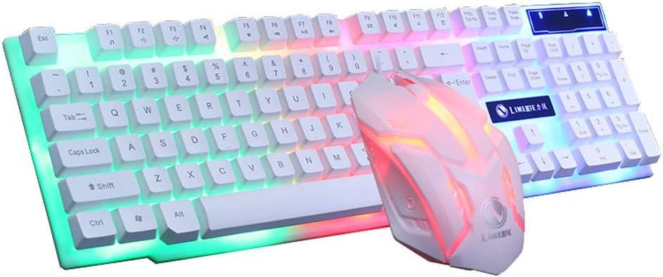 Cloudro Gaming Keyboard Mouse Set,Colorful LED Illuminated Backlit USB Wired PC Rainbow Gaming Keyboard Mouse Set (White)