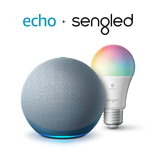 Echo (4th Gen)   With premium sound, smart home hub, and Alexa   Twilight Blue with Sengled Bluetooth Color bulb