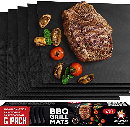 GRILLYARD Grill Mat Set of 6 – Non-Stick, Reusable BBQ Grill Mats for Gas, Charcoal, Electric Grill – Temperature Resistant – Heavy Duty Design – Easy to Clean (Black)