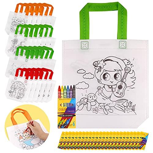 Yodeace Borsa Graffiti Fai da Te per Bambini 50pz Kit, 25pcs Borsa da Colorare+25pcs Pastelli Colorati per Bambini Compleanno Regalo di Natale Giocattoli Educativi Education