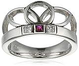 caï women Damen Ring Eastern Love 925 Silber rhodiniert schwarz coloriert syn. Rubin rot Zirkonia 58 (18.5) - C1667R/90/75/58