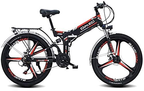 Bici elettriche Mountain Bike Pieghevole Elettrica Da 24 Pollici, Bici Ibrida Bicicletta Elettrica Pieghevole Per Adulti Con Motore Da 300 W E Batteria Agli Ioni Di Litio Da 48 V (Size: 27 Gear Shift)