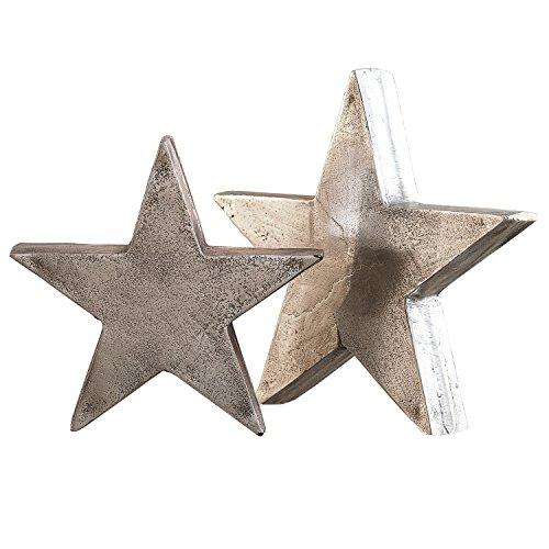 Loberon Big Star Decoratieve sterren, 2-delige set, gegoten aluminium, max. H/Ø ca. 4/20 cm, antiek zilver